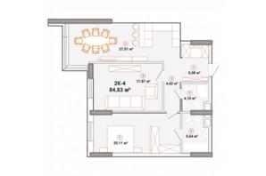 ЖК Edelweiss House: планування 2-кімнатної квартири 84.63 м²
