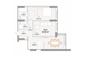 ЖК Edelweiss House: планування 2-кімнатної квартири 82.82 м²