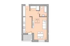 ЖК ЕкоДім: планування 1-кімнатної квартири 47.6 м²