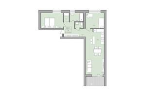 ЖК ЕкоДім: планування 2-кімнатної квартири 75.7 м²