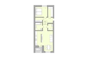 ЖК ЕкоДім: планування 2-кімнатної квартири 68.6 м²