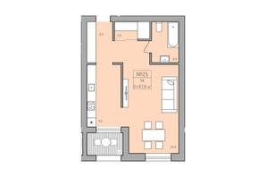 ЖК ЕкоДім: планування 1-кімнатної квартири 47.3 м²