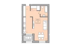 ЖК ЕкоДом: планировка 1-комнатной квартиры 47.3 м²