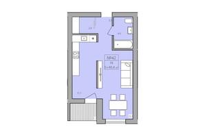 ЖК ЕкоДом: планировка 1-комнатной квартиры 40.4 м²