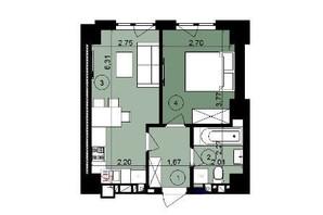 ЖК ЭкоПарк: планировка 1-комнатной квартиры 42.07 м²