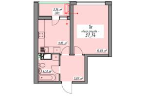 ЖК Елегія Парк: планування 1-кімнатної квартири 37.74 м²