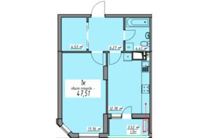 ЖК Елегія Парк: планування 1-кімнатної квартири 47.51 м²