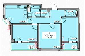 ЖК Элегия Парк: планировка 3-комнатной квартиры 82.72 м²