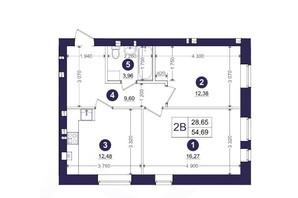 ЖК Емоція: планування 2-кімнатної квартири 54.69 м²