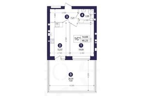 ЖК Емоція: планування 1-кімнатної квартири 46.23 м²