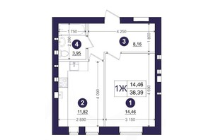 ЖК Емоція: планування 1-кімнатної квартири 38.39 м²