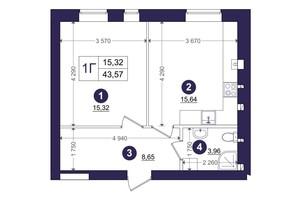 ЖК Емоція: планування 1-кімнатної квартири 43.57 м²