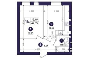 ЖК Емоція: планування 1-кімнатної квартири 42.85 м²