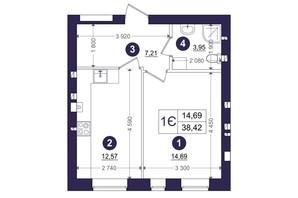 ЖК Емоція: планування 1-кімнатної квартири 38.42 м²