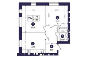 ЖК Емоція: планування 2-кімнатної квартири 58.58 м²