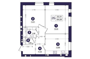 ЖК Емоція: планування 2-кімнатної квартири 64.09 м²