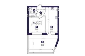 ЖК Емоція: планування 1-кімнатної квартири 48.66 м²