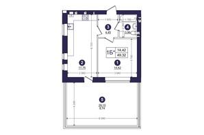 ЖК Емоція: планування 1-кімнатної квартири 49.32 м²