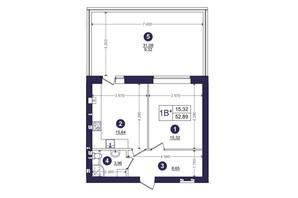 ЖК Емоція: планування 1-кімнатної квартири 52.89 м²