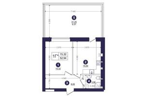 ЖК Емоція: планування 1-кімнатної квартири 52.94 м²
