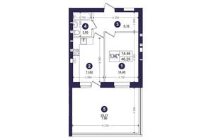 ЖК Емоція: планування 1-кімнатної квартири 46.25 м²
