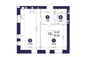 ЖК Емоція: планування 1-кімнатної квартири 40.58 м²