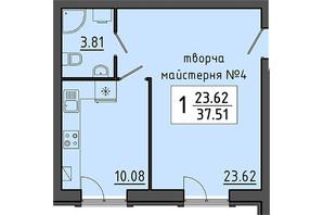 ЖК Енергія: планування приміщення 37.51 м²