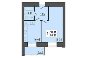 ЖК Енергія: планування 1-кімнатної квартири 40.39 м²