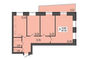 ЖК Енергія: планування 3-кімнатної квартири 87.33 м²