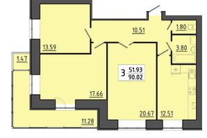 ЖК Енергія: планування 3-кімнатної квартири 90.02 м²