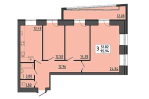 ЖК Енергія: планування 3-кімнатної квартири 95.94 м²
