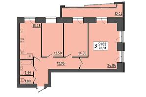 ЖК Енергія: планування 3-кімнатної квартири 96.11 м²