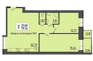 ЖК Енергія: планування приміщення 79.14 м²
