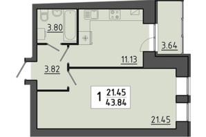 ЖК Енергія: планування 1-кімнатної квартири 43.84 м²