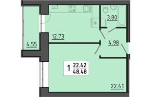 ЖК Енергія: планування 1-кімнатної квартири 48.48 м²
