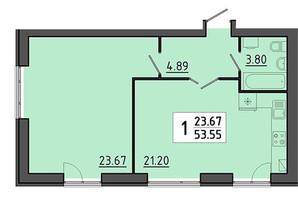 ЖК Енергія: планування 1-кімнатної квартири 53.55 м²