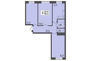 ЖК Енергія: планування 3-кімнатної квартири 78.47 м²