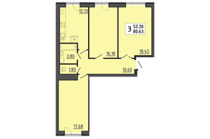 ЖК Енергія: планування 3-кімнатної квартири 80.63 м²