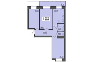 ЖК Енергія: планування 3-кімнатної квартири 86.88 м²