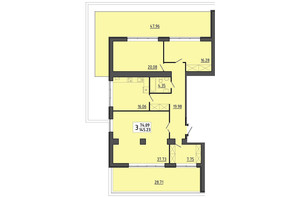 ЖК Енергія: планування 3-кімнатної квартири 145.23 м²