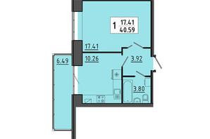 ЖК Энергия: планировка 1-комнатной квартиры 40.59 м²