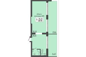 ЖК Энергия: планировка помощения 68.9 м²
