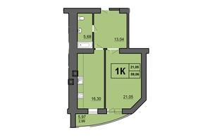 ЖК Europa Haus: планування 1-кімнатної квартири 59.06 м²