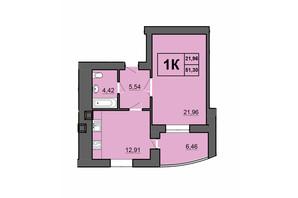 ЖК Europa Haus: планування 1-кімнатної квартири 51.3 м²