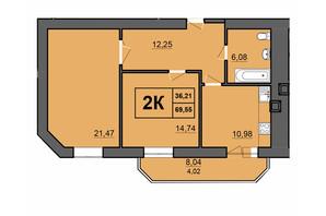 ЖК Europa Haus: планування 2-кімнатної квартири 69.55 м²