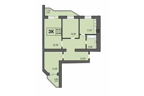 ЖК Europa Haus: планування 3-кімнатної квартири 94.96 м²