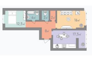 ЖК Евромісто: планировка 2-комнатной квартиры 84.5 м²