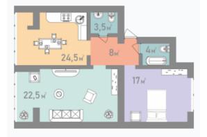ЖК Евромісто: планировка 2-комнатной квартиры 79 м²