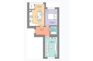 ЖК Евромісто: планировка 2-комнатной квартиры 55.5 м²