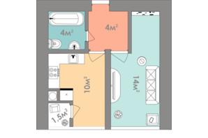 ЖК Евромісто: планировка 1-комнатной квартиры 33.5 м²